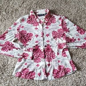 NY&Co Pink Floral Button Down Blouse L